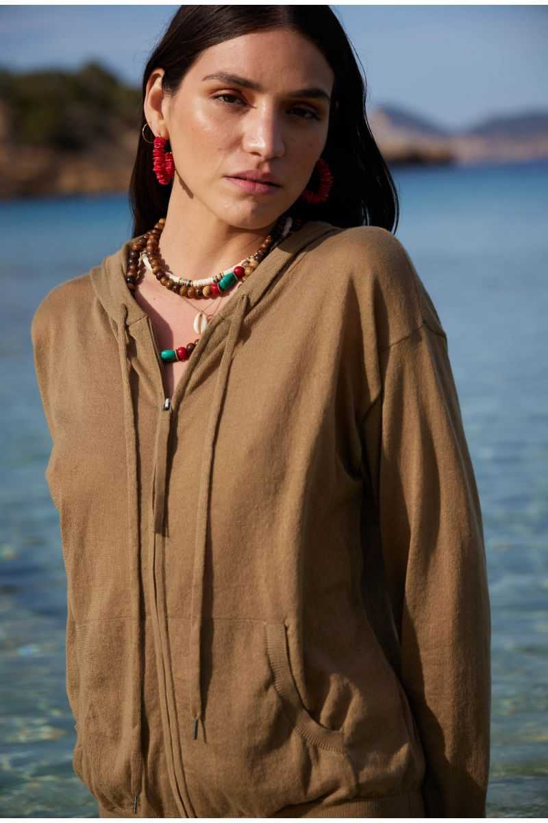 Gilet Zippe Capuche Ml 100%pes Recycled
