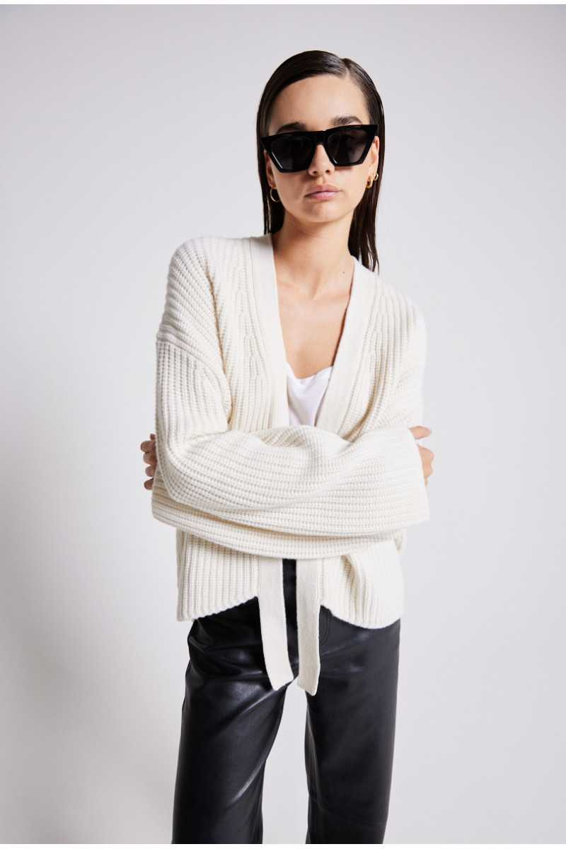 Gilet ouvert laine maille anglaise Malih