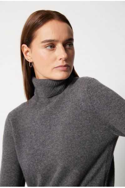 Pull Col Roule Ml Fentes 100%cashmere 12gg