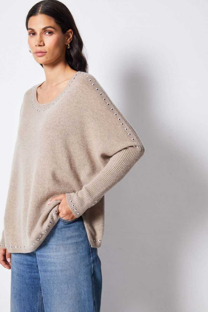 Poncho Col Rond Stud Ml 100% Cashmere 12gg